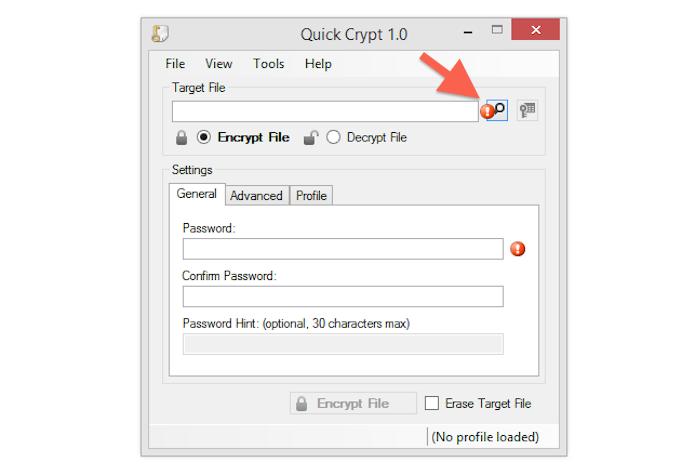 Iniciando o processo de encriptar um arquivo no Quick Crypt (Foto: Reprodução/Marvin Costa)
