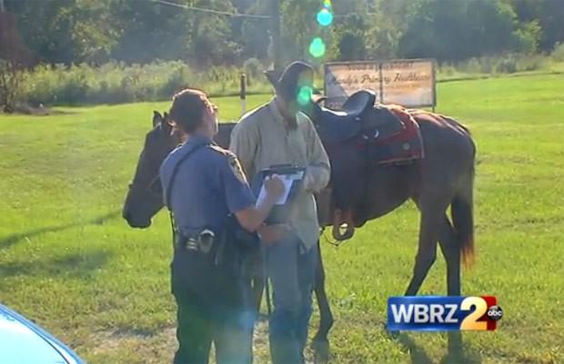 Jake Williams foi multado por andar bêbado a cavalo (Foto: Reprodução/YouTube/WRBZ)
