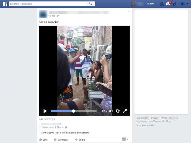 Vídeo compartilhado nas redes sociais mostra agressão (Foto: Reprodução/ Facebook)