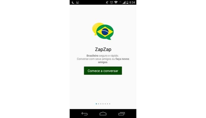 Primeira tela do ZapZap assim que o app é baixado (Foto: Reprodução/ Raquel Freire)