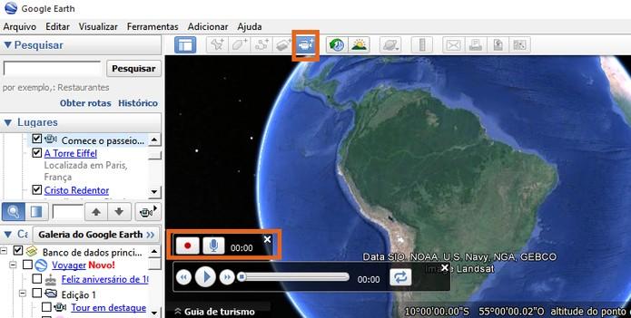 Abra o controlador de gravação no Google Earth (Foto: Reprodução/Barbara Mannara)