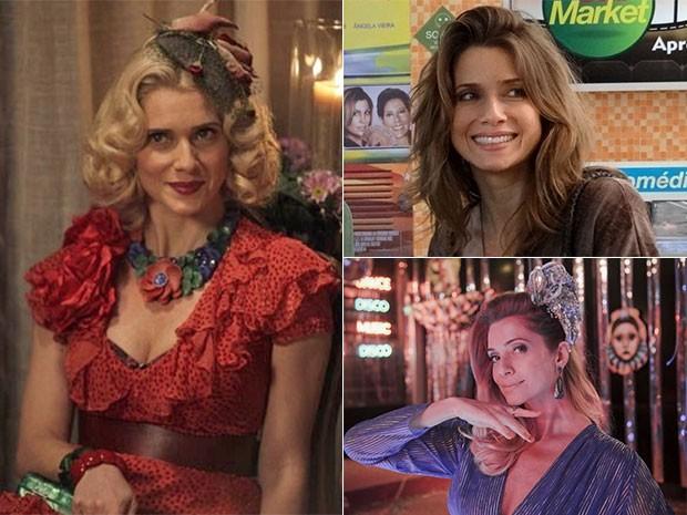 À esquerda, como Lola, em Jóia Rara; no canto superior direito, como Laura, em Malhação e abaixo como Gilda, em Boogie Oogie  (Foto: Gshow)