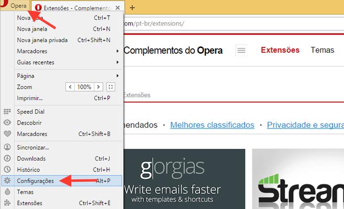 Acessando as configurações do Opera no computador (Foto: Reprodução/Marvin Costa)