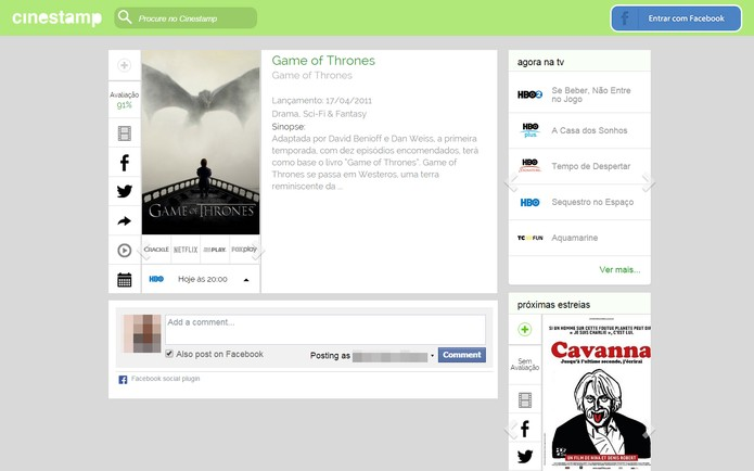 Página com as informações da série ou filme buscados  (Foto: Reprodução/Cinestamp)