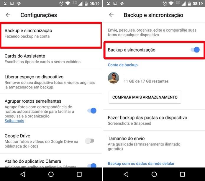 Ativando a sincronização automática do Google Fotos (Foto: Felipe Alencar/TechTudo)