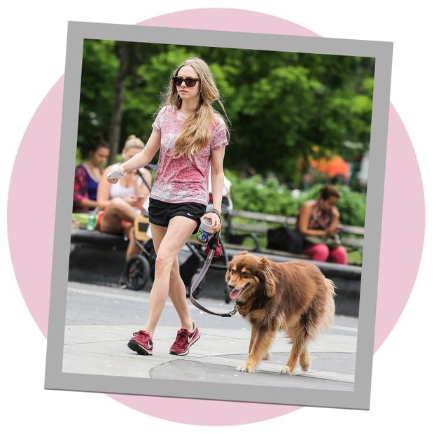 Amanda Seyfried com seu cachorro no Central Park, em Nova York (Foto: AKM-GSI)