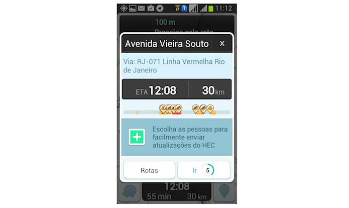 Dados sobre uma rota definida no Waze para Android (Foto: Reprodução/Marvin Costa)