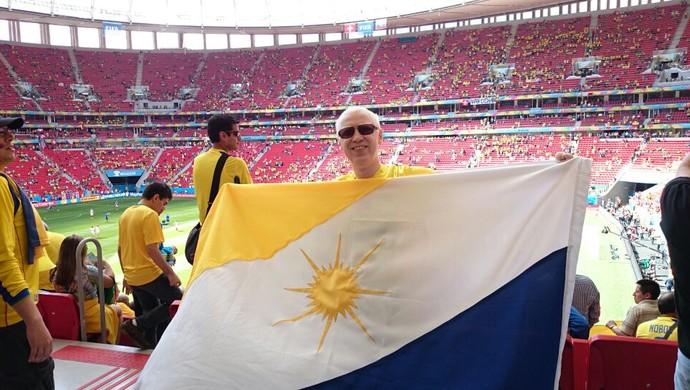Felipe Póvoa assite Suíça x Equador no estádio Nacional de Brasília Mané Garrincha (Foto: Felipe Póvoa/Arquivo pessoal)