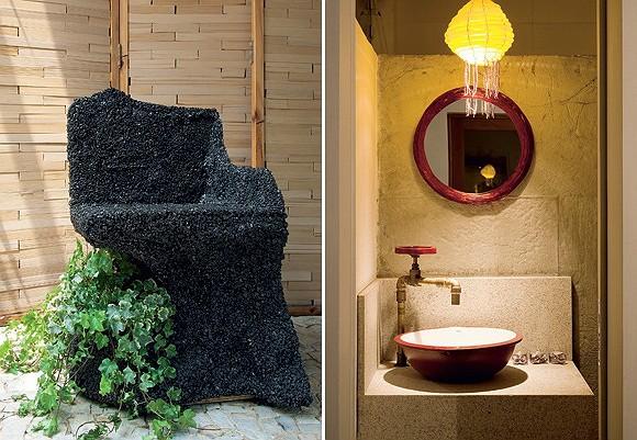 """""""A cadeira é feita de pedras brita e uma cola poderosa, usada em barragens e piso drenante. Deixamos um espaço dentro para uma planta crescer. Deu supercerto"""" (Foto: Casa e Jardim)"""