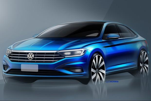 Nova geração do Jetta tem esboços divulgados pela Volkswagen (Foto: Divulgação)