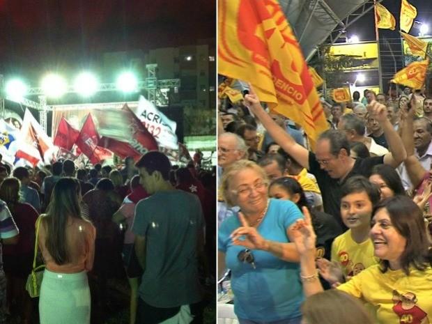 Eleitores e candidatos comemoram a chegado ao segundo turno para prefeitura de Fortaleza (Foto: G1)
