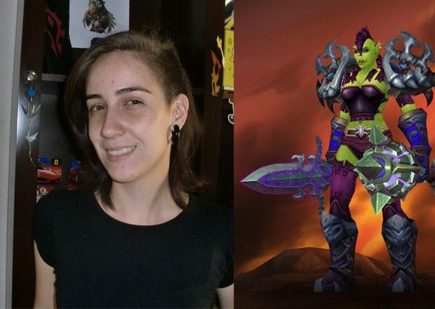 Karen Almeida e sua Orc em 'World of Warcraft' que recebe xavecos dos homens (Foto: Arquivo Pessoal)