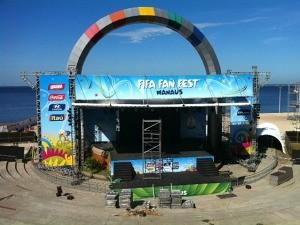 FIFA Fan Fest funcionará durante os 25 dias de jogos (Foto: Adneison Severiano/ G1 AM)
