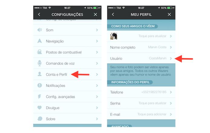 Acessando as configurações de nome de usuário no Waze (Foto: Reprodução/Marvin Costa)