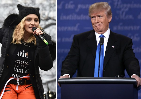 A cantora Madonna e o presidente dos EUA, Donald Trump (Foto: Getty Images)