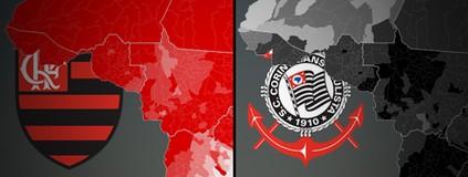Mapa do Facebook: Fla e Corinthians dominam o Acre em curtidas na web (Editoria de Arte)