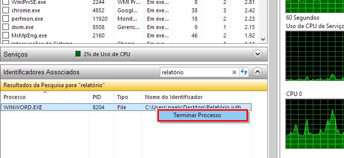 Digite o nome do arquivo e finalize o programa que o mantém aberto (Foto: Reprodução/Paulo Alves)