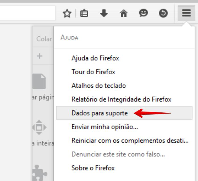 """Clique no link """"Dados para suporte"""" (Foto: Felipe Alencar/TechTudo) (Foto: Clique no link """"Dados para suporte"""" (Foto: Felipe Alencar/TechTudo))"""