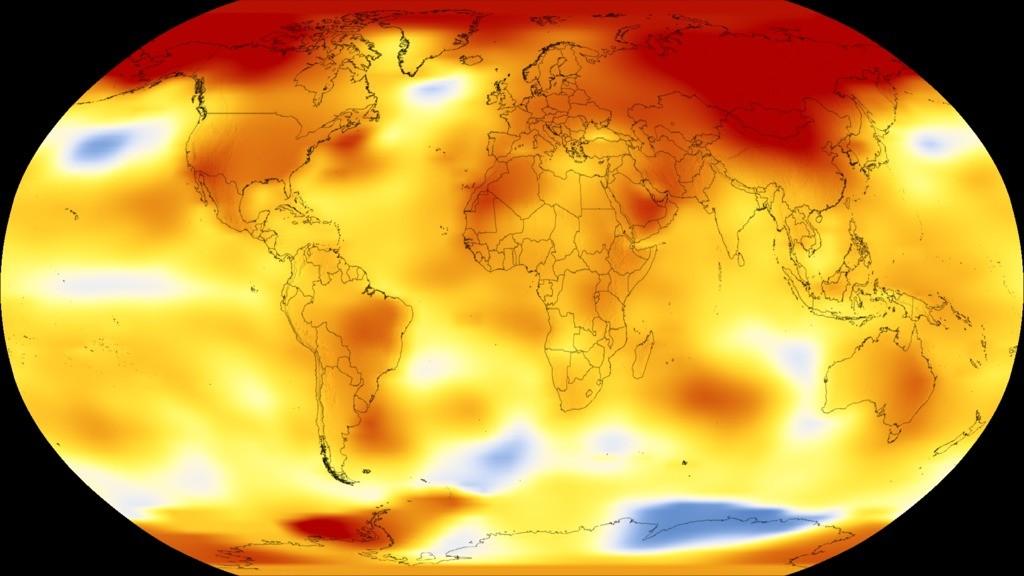 Mapa mostra onde a temperatura foi mais quente que o normal em 2017 (Foto: GISS)