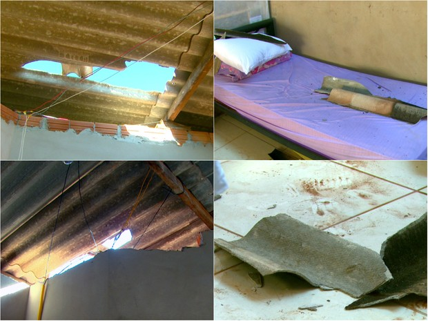 Chuva em alguns pontos de Araraquara destelhou casas (Foto: Wilson Aiello/EPTV)