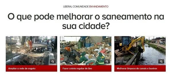 Enquete Liberal Comunidade- saneamento  (Foto: Reprodução/G1Pará)