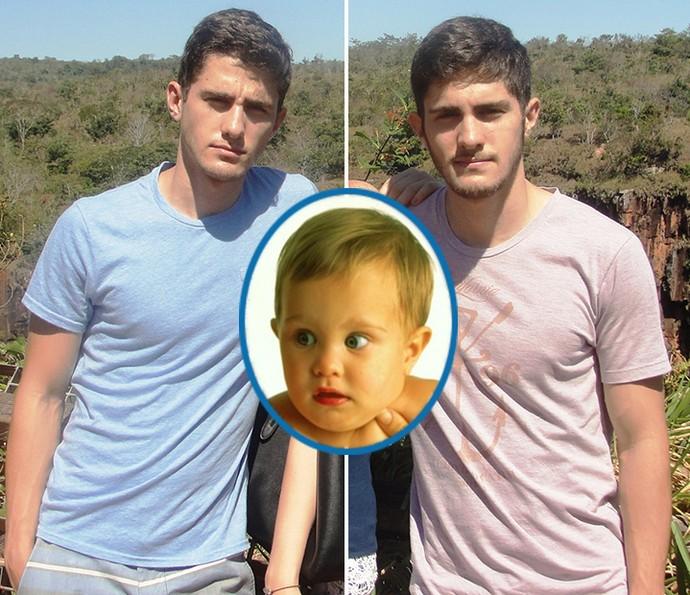 Tiago (à esq.) e Bruno Guimarães (à dir.) interpretaram o bebê Théo, na segunda versão de 'Anjo Mau' (Foto: Arquivo pessoal e Cedoc / TV Globo)