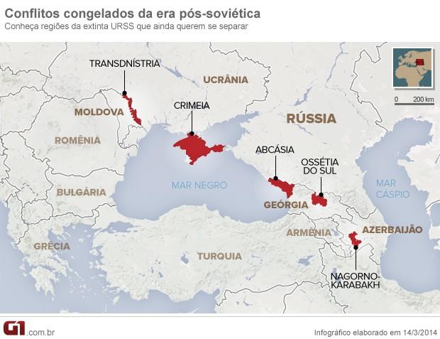 mapa separatismo ex republicas soviéticas (Foto: Arte/G1)