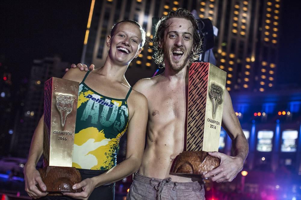 Rhiannan Iffland e Gary Hunt, os campees mundiais de saltos em penhascos de 2016 (Foto: Dean Treml/Red Bull Content Pool)