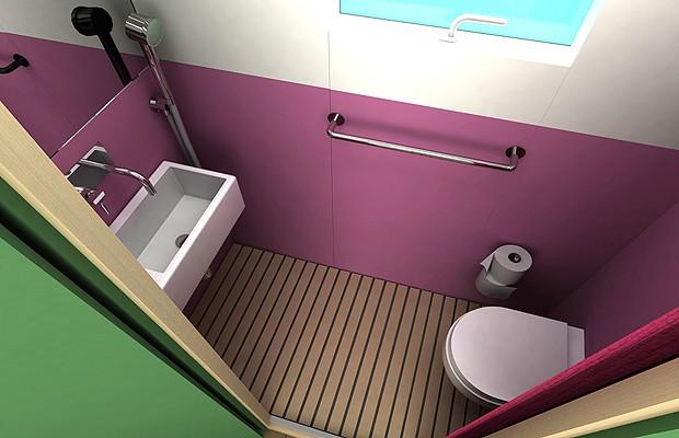 O banheiro é um cubículo. Repare no chuveirinho (Foto: Divulgação)