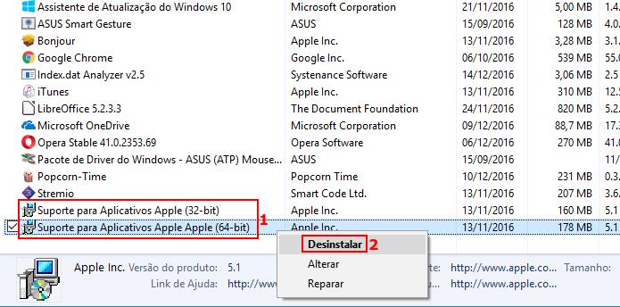 Desinstalando o Suporte para Aplicativos Apple (Foto: Reprodução/Edivaldo Brito)