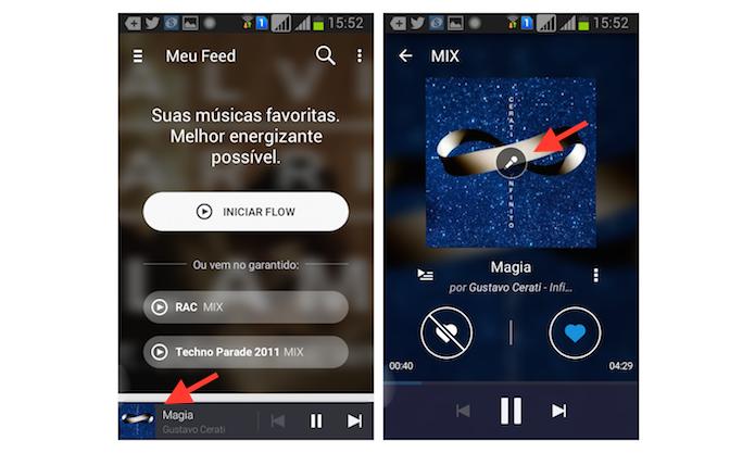 Acessando a página de letra da música através do player do Deezer para Android (Foto: Reprodução/Marvin Costa)