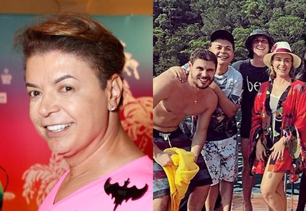 David Brazil e a foto em que aparece 'de casal' com Bruninho (Foto: Marcos Ferreira/Brazil News e Reprodução/Instagram)