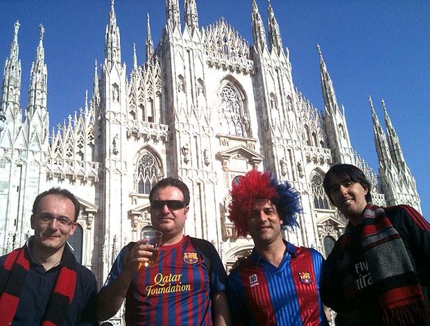 torcida do Barcelona em Milão (Foto: Cahê Mota / Globoesporte.com)