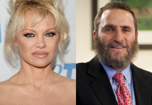Pamela Anderson e o rabino Shmuley Boteach (Foto: Getty Images e Reprodução)