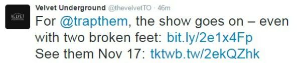 Tuíte da casa de shows Velvet Underground (Foto: Reprodução Twitter)