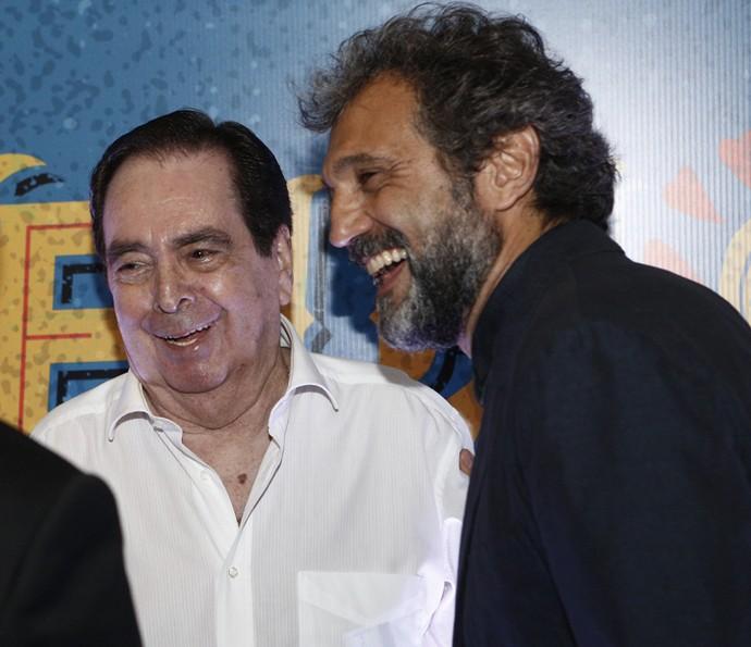 Benedito Ruy Barbosa e Domingos Montagner se reencontraram no evento de lançamento da novela em março de 2016 (Foto: Inácio Moraes/ Gshow)