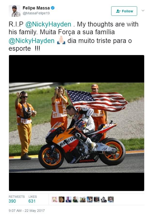 Nicky Hayden Felipe Massa post (Foto: Reprodução)