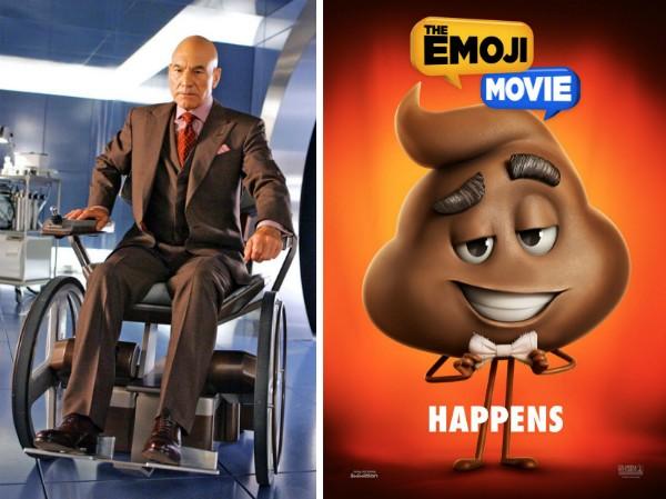 O ator Patrick Stewart e o cocô que dublará em The Emoji Movie (Foto: Reprodução/Divulgação)