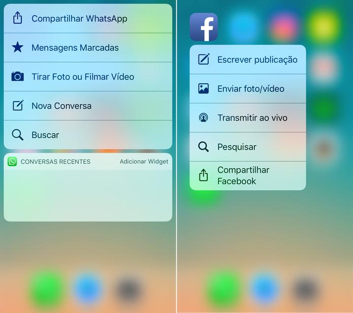 WhatsApp e Facebook têm vários atalhos disponíveis (Foto: Reprodução/Lucas Mendes)