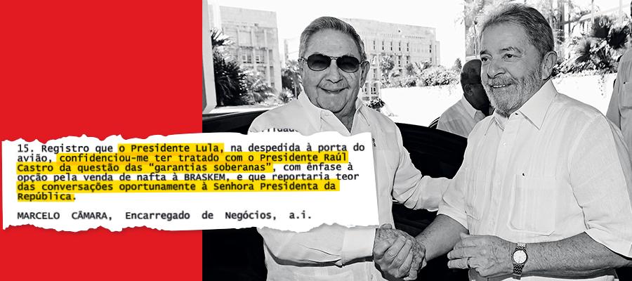 CRIATIVOS Lula em visita a Raúl Castro, em 2014. De uma reunião de Lula com a Odebrecht, saíram ideias para obter novos financiamentos (Foto:  Instituto Lula)