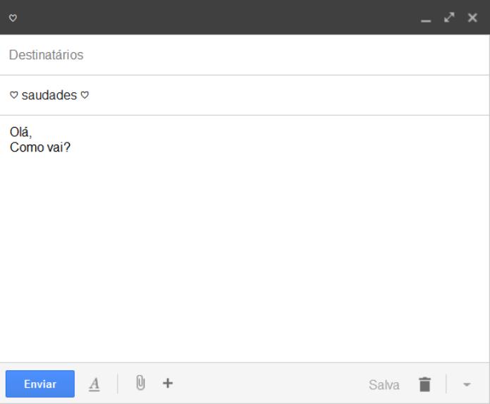 Inserindo emoticons no assunto do e-mail (Foto: Reprodução/Lívia Dâmaso)