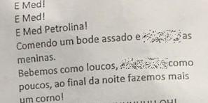 Trecho do hino da Atlética Carranca, do curso de Medicina da Univasf (Foto: Reprodução/Facebook)