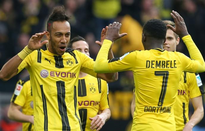 Aubameyang Borussia Dortmund x Bayer Leverkusen (Foto: AFp)