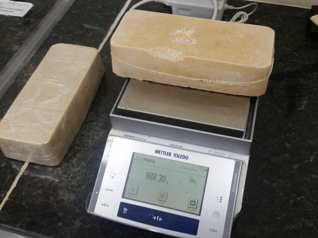Apreensão de pasta de cocaína pela PF no Recife (Foto: Divulgação/PF)
