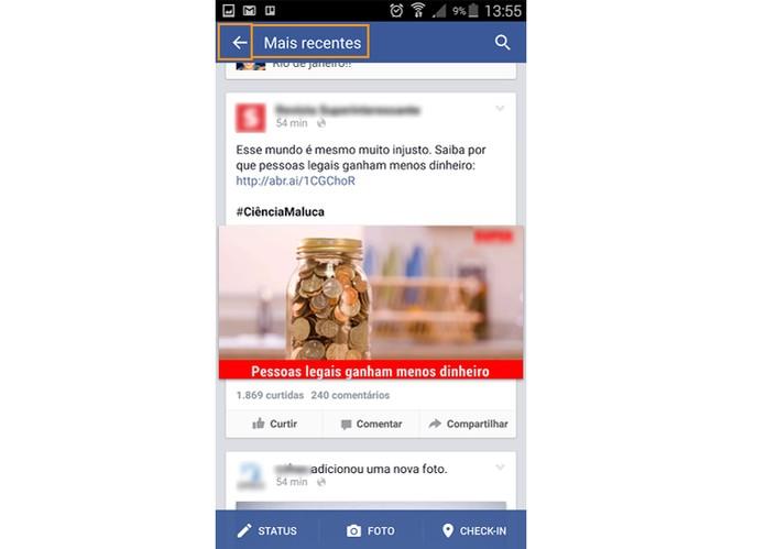 Serão exibidas apenas as publicações mais recentes do Facebook (Foto: Reprodução/Barbara Mannara)