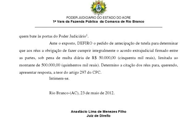 decisão da justiça do acre a favor do Rio branco (Foto: Reprodução)