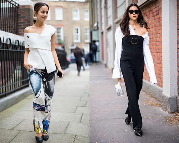 As blusas de ombros de fora foram unanimidade entre as fashionistas (Foto: Imaxtree)