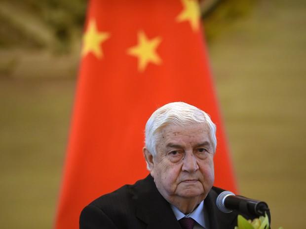 O ministro sírio das Relações Exteriores, Walid Muallem, durante visita a Pequim nesta quinta-feira (24) (Foto: Wang Zhao/AFP)