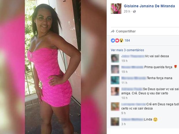 Gislaine Janaína, de 21 anos, está internada há dois dias em uma UTI de Cáceres (MT) (Foto: Reprodução/ Facebook)