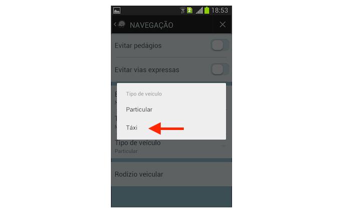 Definindo um taxi como tipo de veículo no Waze para Android (Foto: Reprodução/Marvin Costa)